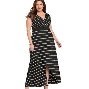 Torrid Striped Surplice Slit Maxi Dress